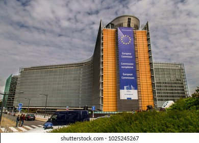 the European Commission building in Brussels, Belgium, 06.26.2016. Editorial use only. beautiful, massive and modern administrative building in the heart of the capital of Europe.