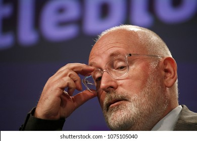 European Commission First Vice-President Frans Timmermans gives a press conference on the Commission proposal for the protection of whistleblowers at the EU Headquarters in Brussels, on April 23, 2018