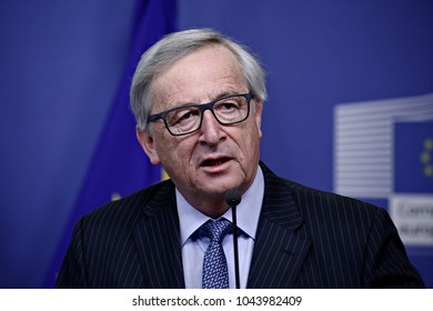 European Commission President Jean-Claude Juncker holds a press conference at the EU Commission headquarters in Brussels, Belgium on Feb. 10, 2017