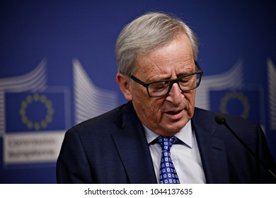 European Commission President Jean-Claude Juncker holds a press conference  at the EU Commission headquarters in Brussels, Belgium on Apr. 06, 2017
