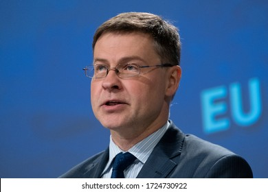 European Commissioner in charge of Economy Valdis Dombrovskis gives a press conference on the Commission's fight against money laundering and terrorist financing in Brussels, Belgium, 7 May, 2020.
