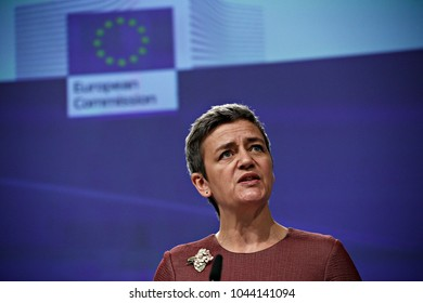 European Commissioner for Competition, Danish Margrethe Vestager gives a press conference in Brussels, Belgium on March 8, 2017.