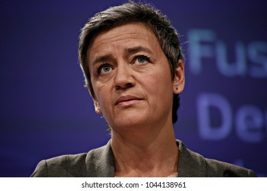 European Commissioner for Competition Margrethe Vestager gives a press conference in Brussels, Belgium on Mar. 29, 2017
