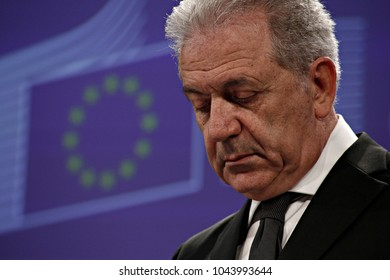 European Commissioner for Migration and Home affairs Dimitris Avramopoulos  gives a press conference on Migration, Security, EU Information Systems in Brussels, Brussels on Jan. 25, 2017