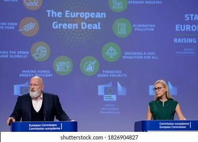 European Commissioners for European Green Deal Frans Timmermans during a press conference with European Commissioner for Energy Kadri Simson in Brussels, Belgium on Sept. 17, 2020.