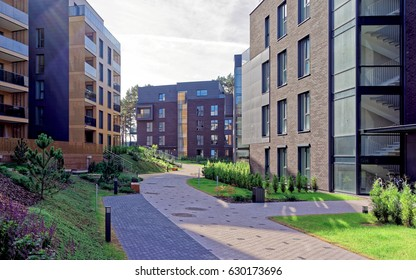 European complex of apartment residential buildings. And outdoor facilities.