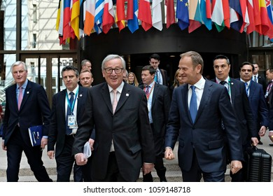 European Council President Donald Tusk and European Commission President Jean-Claude Juncker arrive to address a media conference at the conclusion of an EU summit in Brussels,Belgium on Apr. 29, 2017