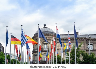 European countries flags at Strasbourg, Alsace, France