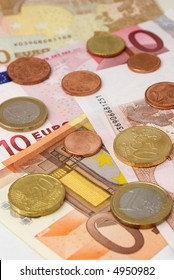 European currency close up.