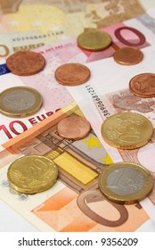 European currency close up. Paper money and coins