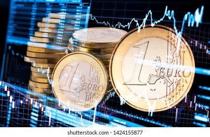 European currency Euro with symbols for fluctuating exchange rates