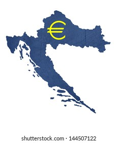 European currency symbol on map of Croatia isolated on white background.