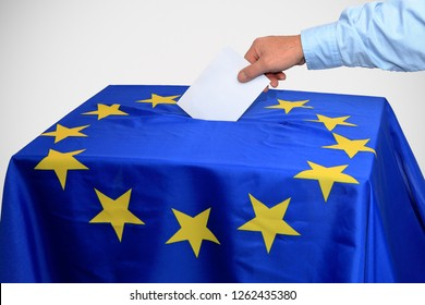 European election, ballot box is inserted in the ballot