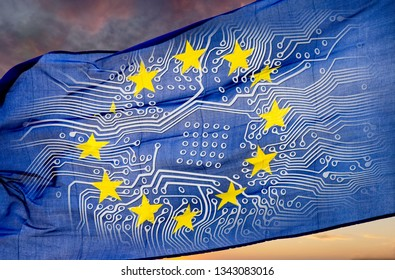 European flag with board in front of dramatic sky