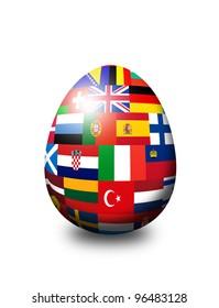 european flag egg isolated over white background