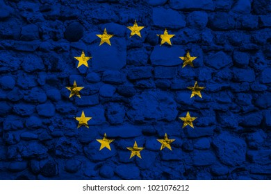 European flag on a stone wall