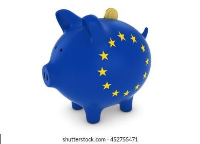 European Flag Piggy Bank with Gold Euro Coin 3D Illustration