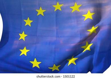 European flag in the wind.