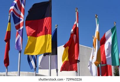 European flags, blue sky