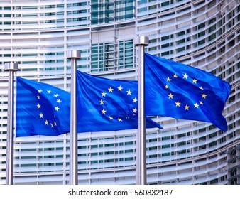 European flags in Brussels, Belgium