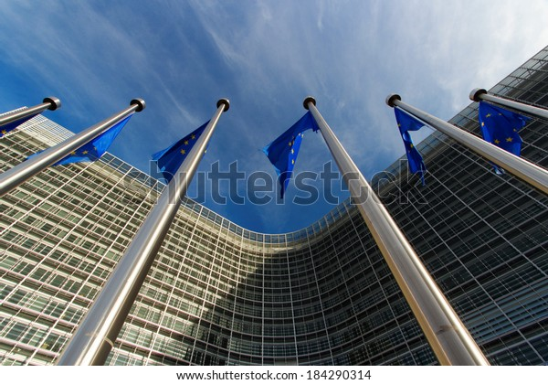 European flags in Brussels on European commission site