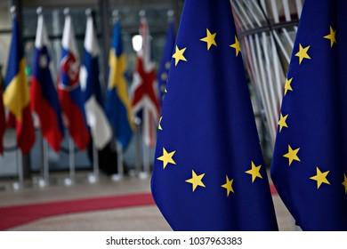 European flags in Europa building in Brussels, Belgium on Feb. 23, 2018