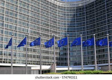 European flags in front of the Berlaymont building headquarters of the European commission in Brussels.