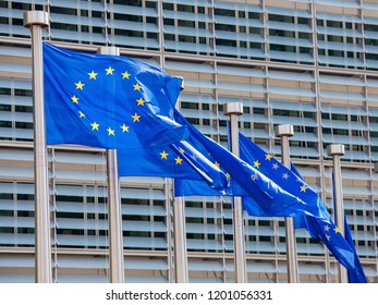 European Flags in front of the European Commission Headquarters building in Brussels, Belgium, Europe