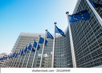 European flags in front of the European Commission headquarters in Brussels, Belgium .