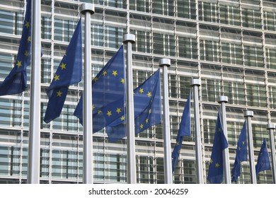 european flags in front of the EU commission building in Brussels