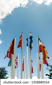European Flags in front of sky