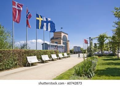 European flags in German resort at Baltic sea.
