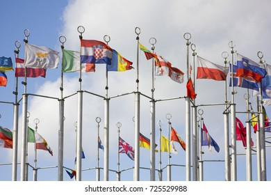 European flags in Moscow, Russian Federation