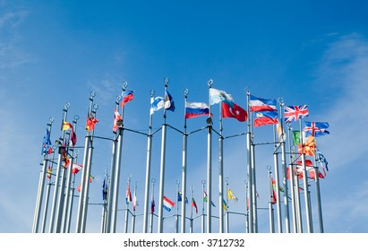 European flags on Eupore square in Moscow