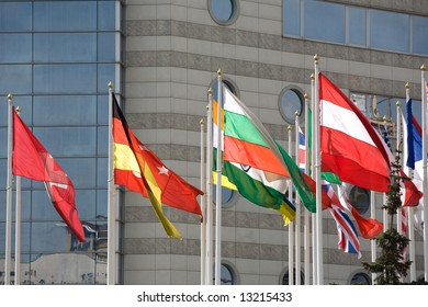 European flags on modern building background