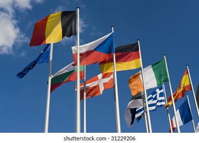 European Flags at the European Parliament, Strasbourg, France