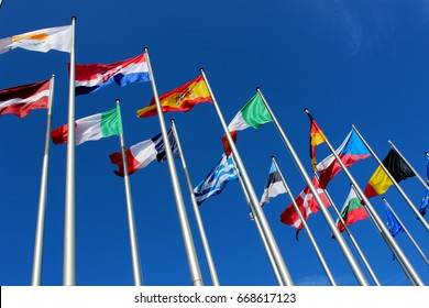 European flags waving in the wind