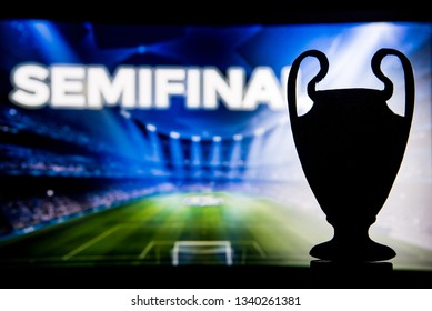 "European Football Champions League trophy silhouette and tittle ""SEMIFINAL"""