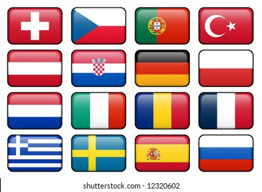 European football championship 2008 rectangular buttons.  Flags from all 16 participating countries.