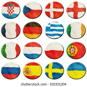 European Football Group on white background