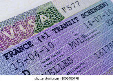 European and French Schengen visa closeup