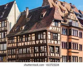 European german half-timbered frames facade of historical building in the old town of Strasbourg city, Alsace, France, Europe.