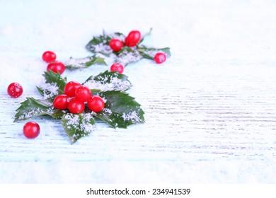 European Holly (Ilex aquifolium) with berries on wooden background