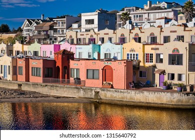 European houses at Capitola with reflection in the lagoon
