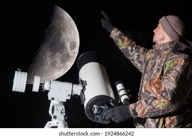 A European man observes the moon through a telescope. The man points his finger at the moon.