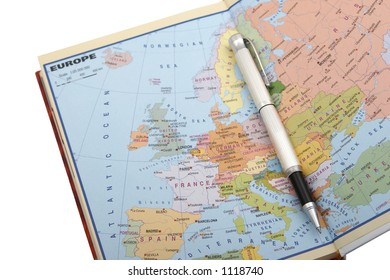 European map and pen