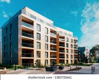 European Modern apartment residential quarter. Other outdoor facilities.