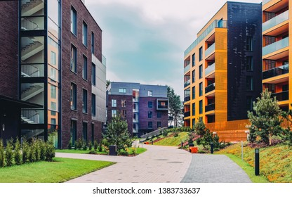 European Modern residential buildings quarter. Other outdoor facilities.