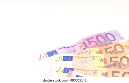 european money in coins and notes closeup on a white background