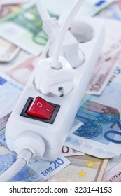 European money Energy Costs concept (detailed close-up shot)